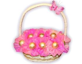 L002.9 Подарочная корзина букет из конфет Розовые мечты