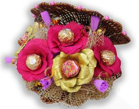 L002.38 Праздничный букет из конфет «Цветочная ракушка»